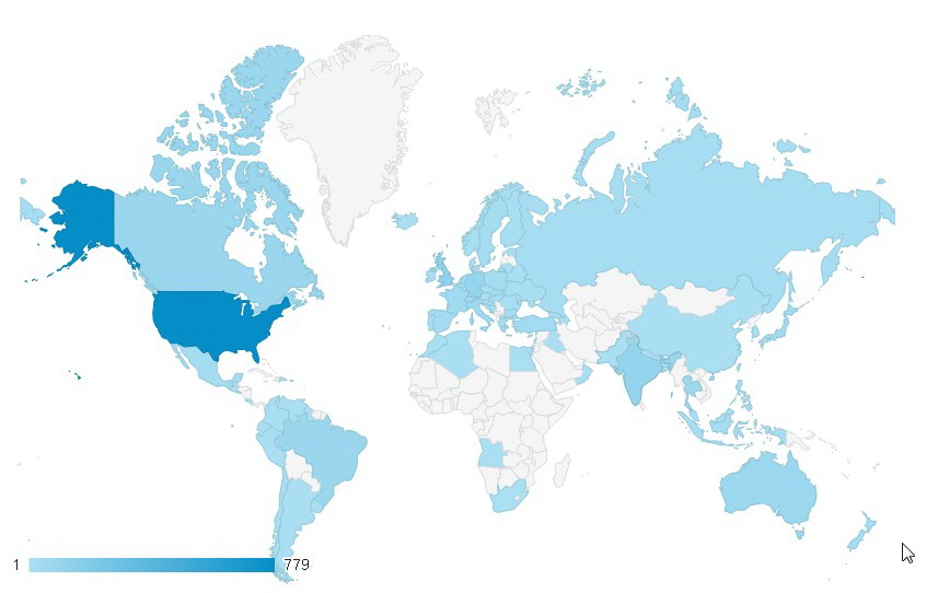 Map of visitors that used our streamate white label site over a 24 hour period.